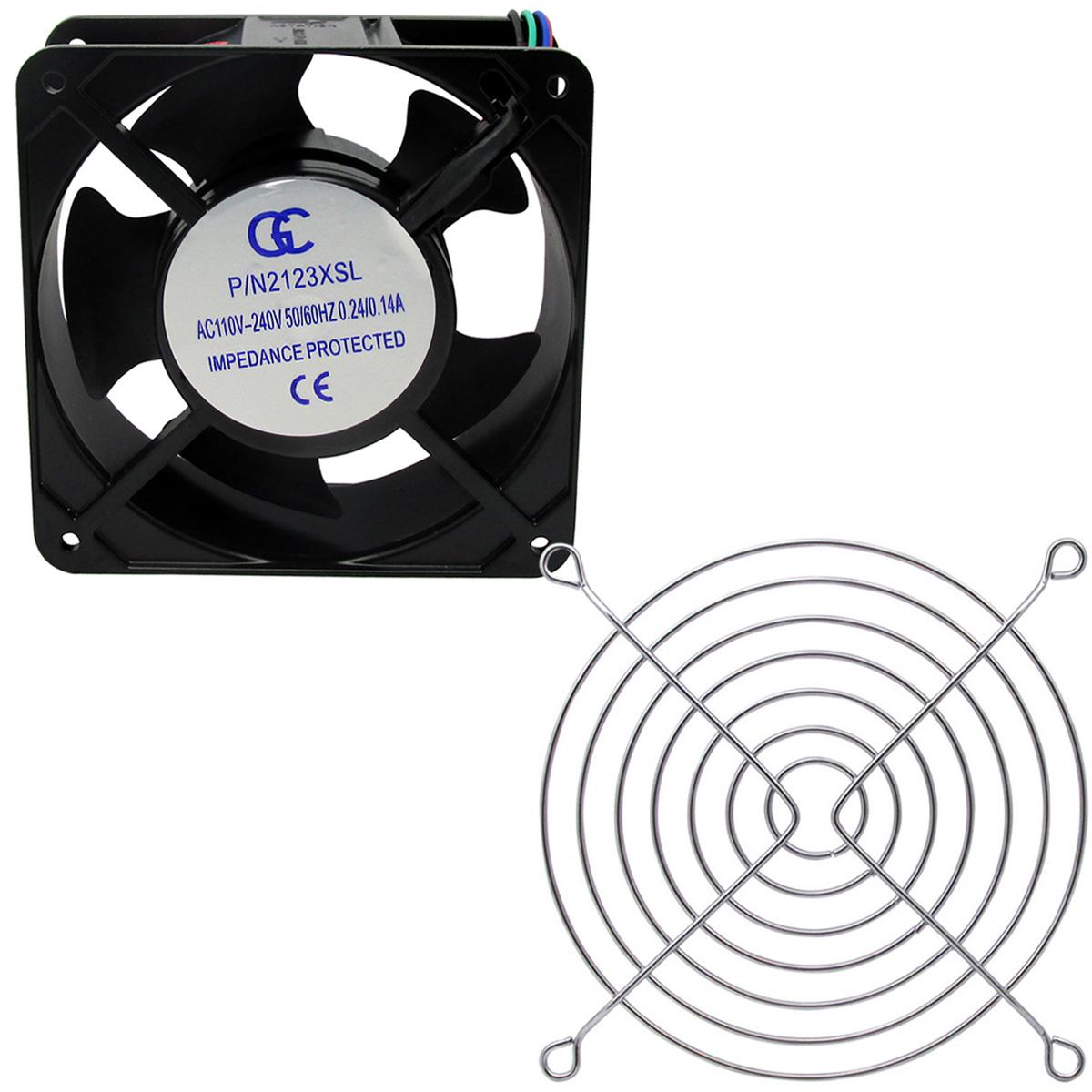 Ventilador Cooler Com Grade Gc Metalica 120x120x38 Bivolt