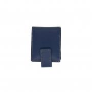 Porta Batom Duplo com Espelho em Couro Legitimo Azul - Colatto