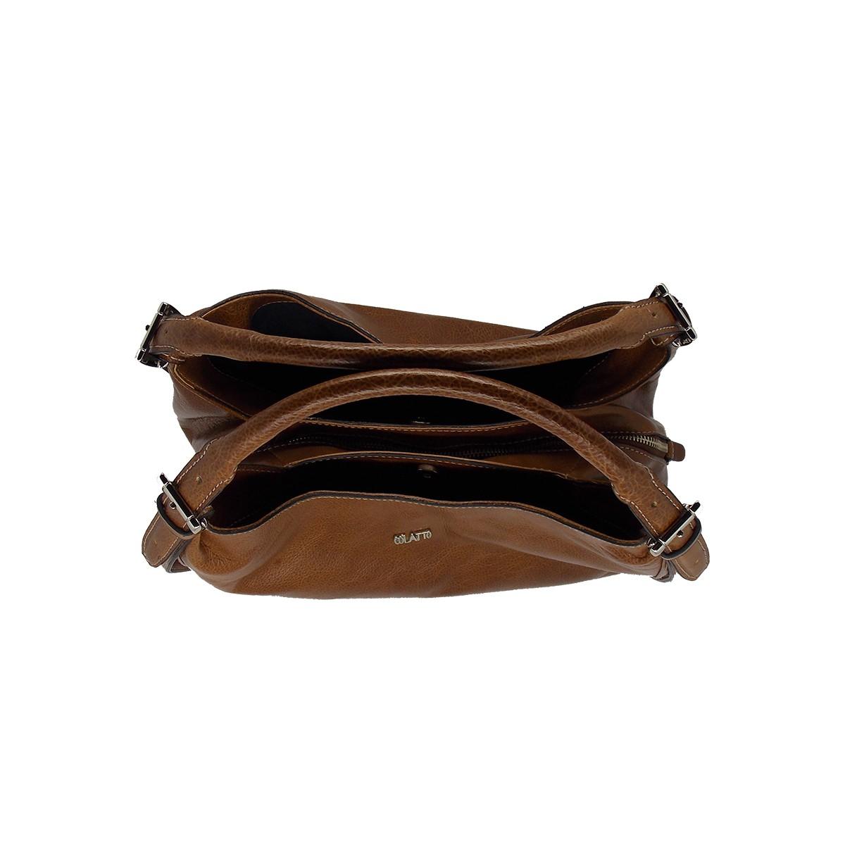 Bolsa Clássica com três divisões de Couro Havana - Colatto