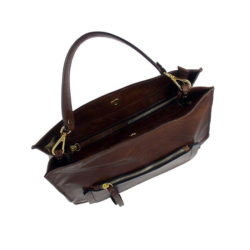 Bolsa Elegante em Couro Genuíno cor Pinhão - Colatto