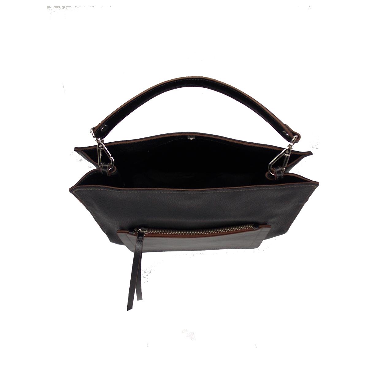 Bolsa Elegante em Couro Genuíno Preta - Colatto