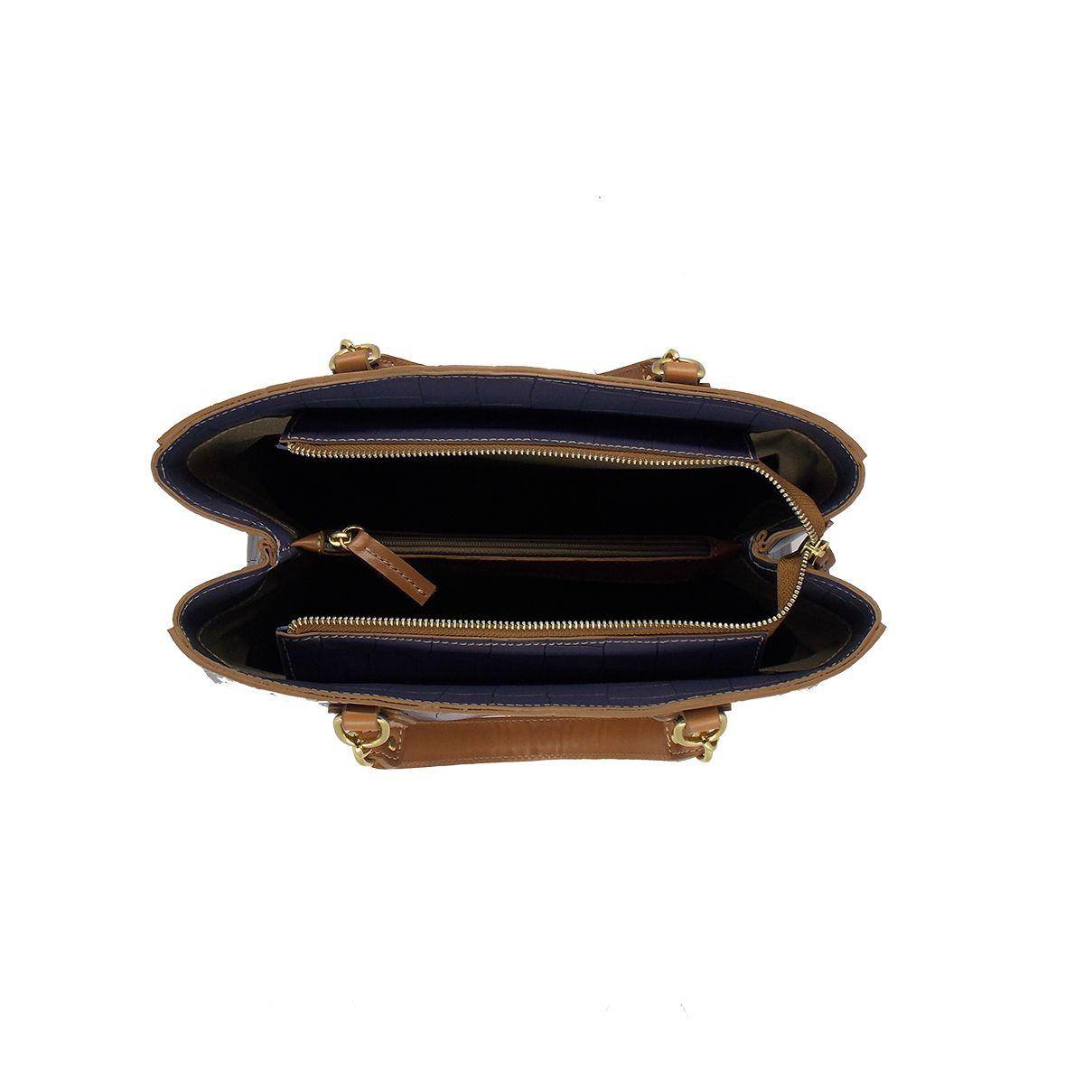 Bolsa Estruturada com divisórias em Croco Azul Marinho - Colatto