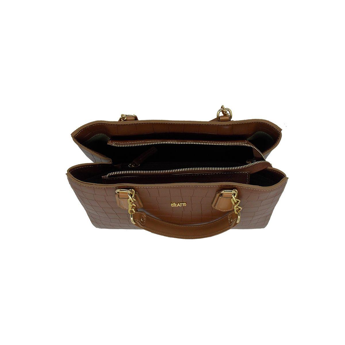 Bolsa Estruturada com divisórias em Croco Chocolate - Colatto