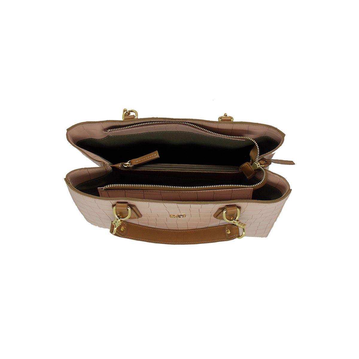 Bolsa Estruturada com divisórias em Croco Rosa - Colatto