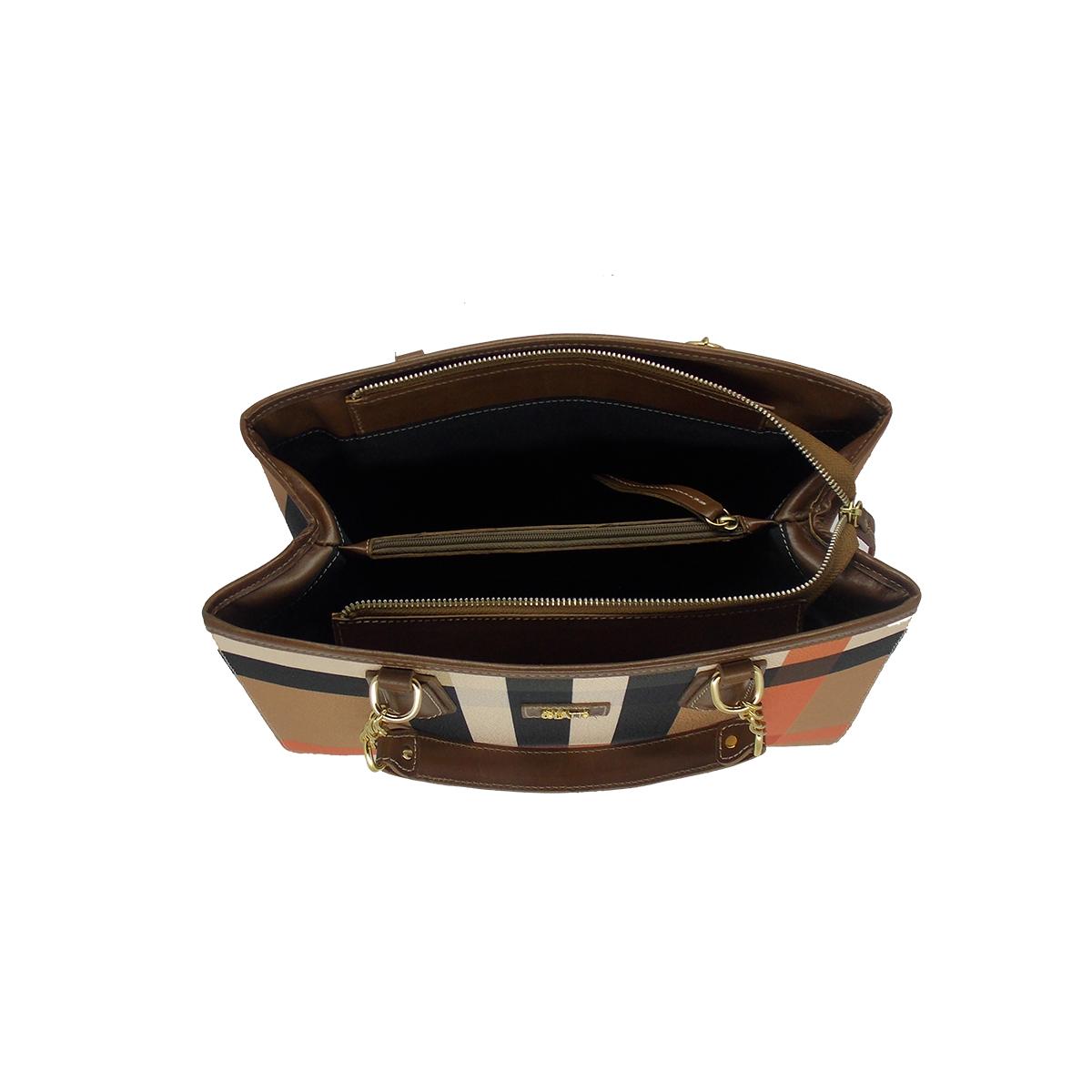 Bolsa Estruturada em Linho Xadrez Bege - Colatto