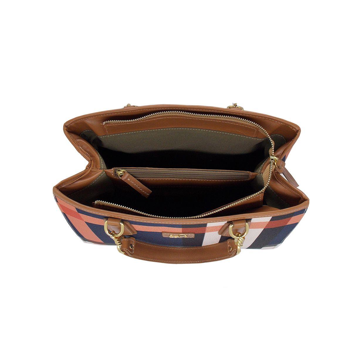 Bolsa Estruturada em Linho Xadrez indigo - Colatto