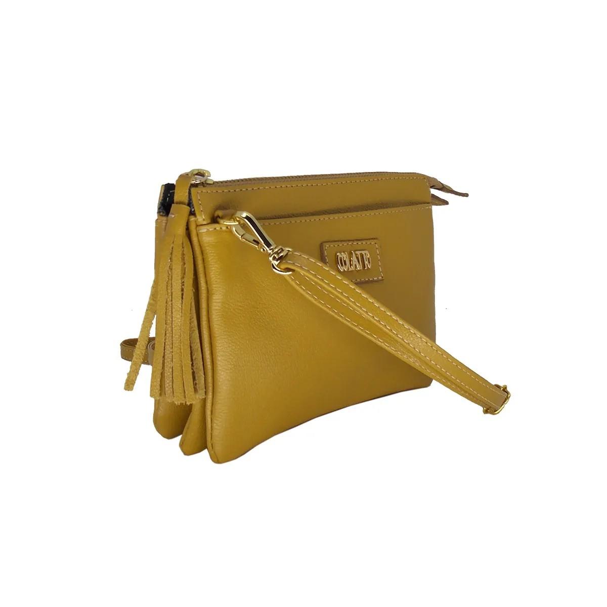 Bolsa Pequena com Várias divisões Couro Legitimo Mostarda Colatto