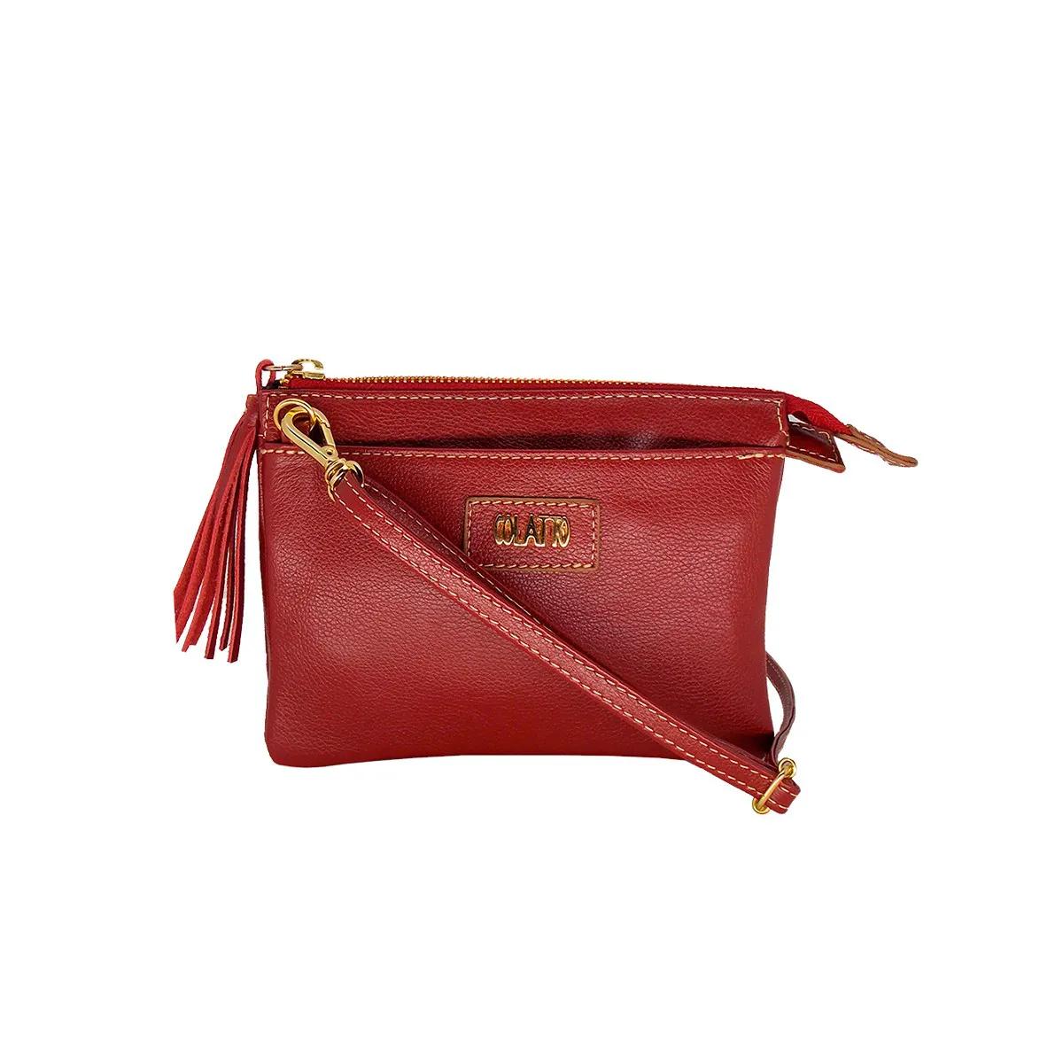 Bolsa Pequena com Várias divisões Couro Legitimo Vermelha Colatto