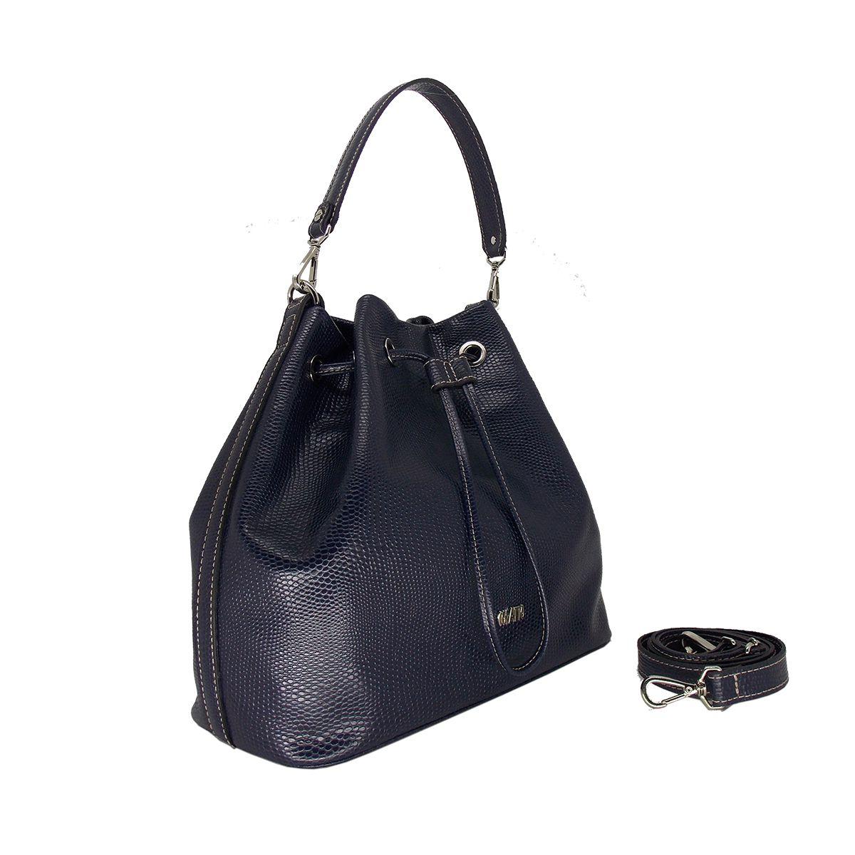 Bolsa Saco Estilosa de Couro Azul Marinho com estampa Colatto