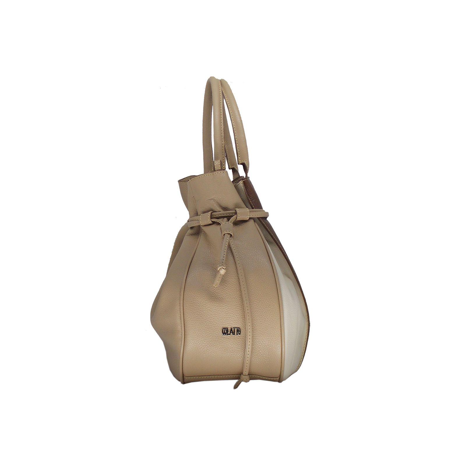 Bolsa Saco produzida em Couro Legitimo Nude - Colatto