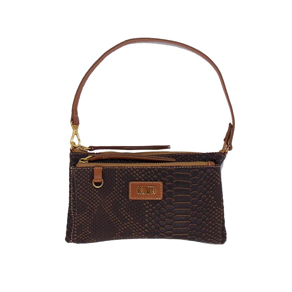 Bolsa Transversal com dois bolsos cor Marrom - Colatto