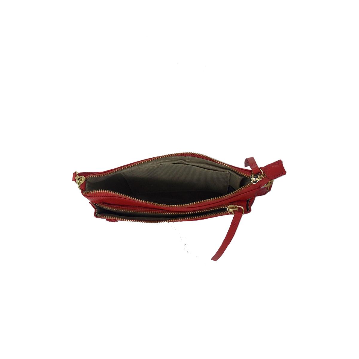 Bolsa Transversal em Couro Legitimo com dois bolsos Vermelha - Colatto