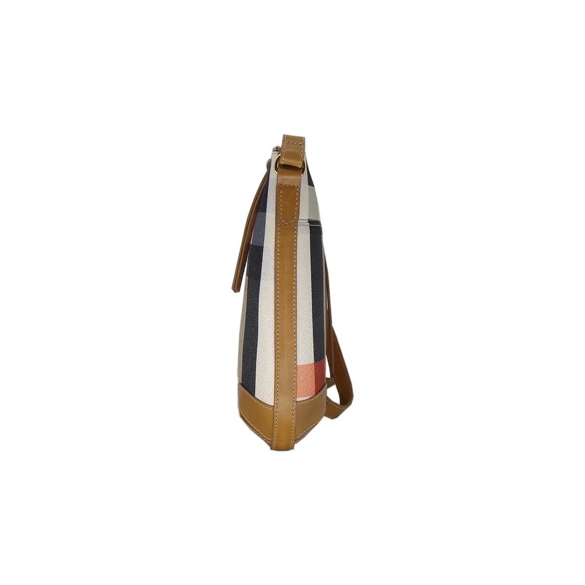 Bolsa Transversal em linho Xadrez Bege com acabamento em couro - Colatto