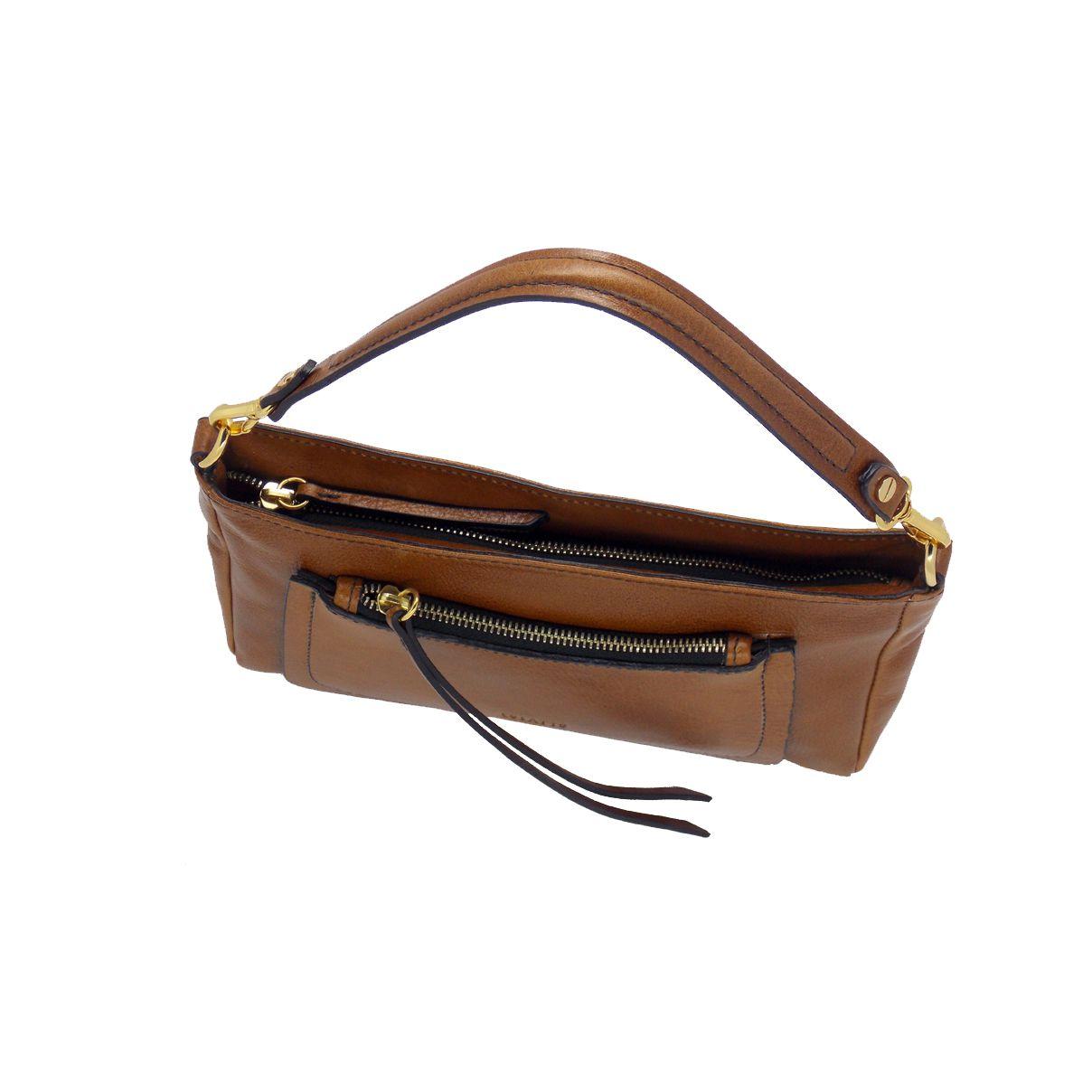 Bolsa Transversal/Ombro produzida em couro Legitimo Caramelo - Colatto