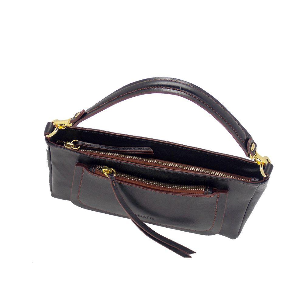 Bolsa Transversal/Ombro produzida em couro Legitimo Preta - Colatto