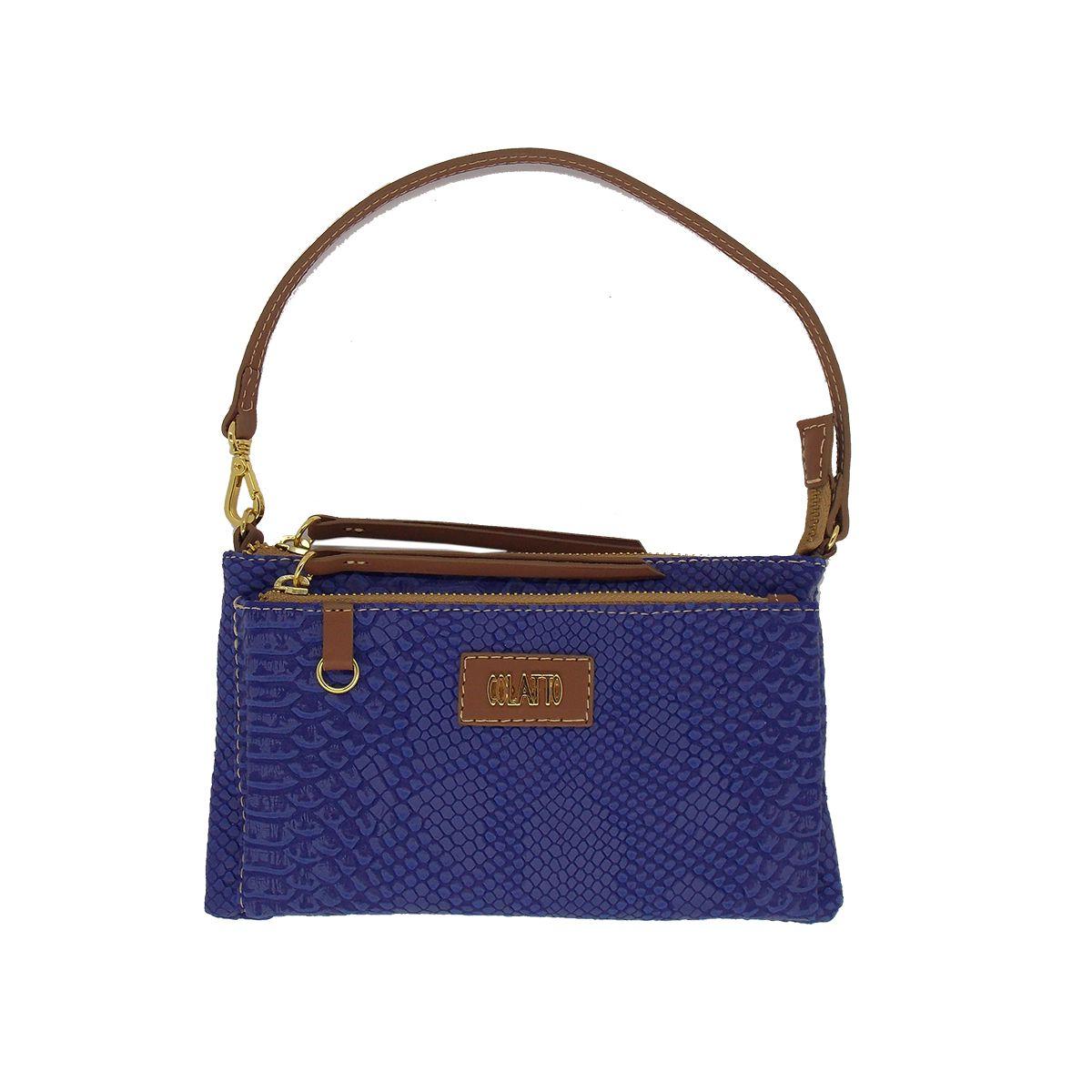 Bolsinha Transversal com dois bolsos Azul Royal - Colatto
