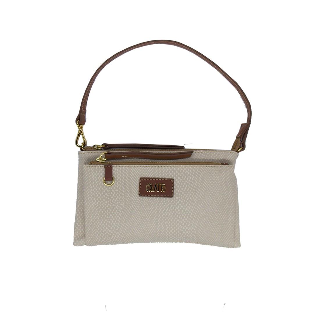 Bolsinha Transversal com dois bolsos cor Creme - Colatto