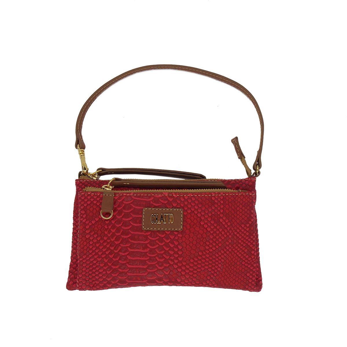 Bolsinha Transversal com dois bolsos Vermelha - Colatto