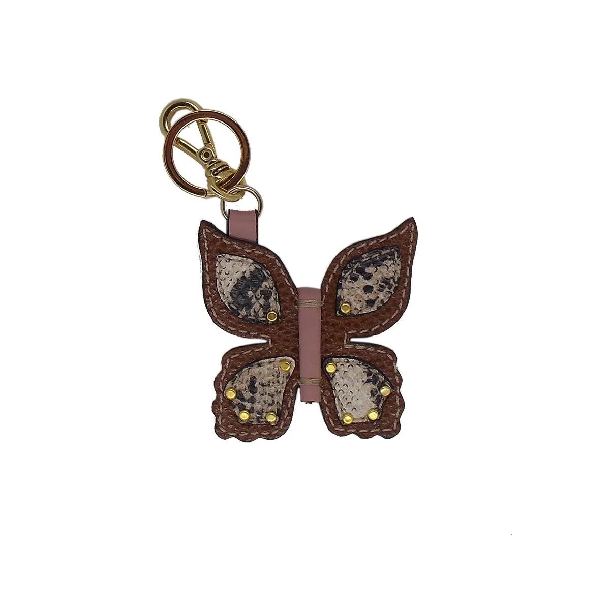 Chaveiro em formato de Borboleta Feito à Mão em Couro Legtimo Caramelo - Colatto