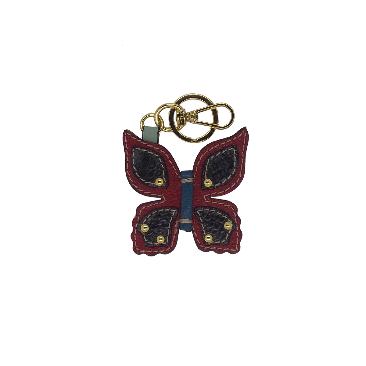 Chaveiro em formato de Borboleta Feito à Mão em Couro Legtimo Vermelho  Colatto
