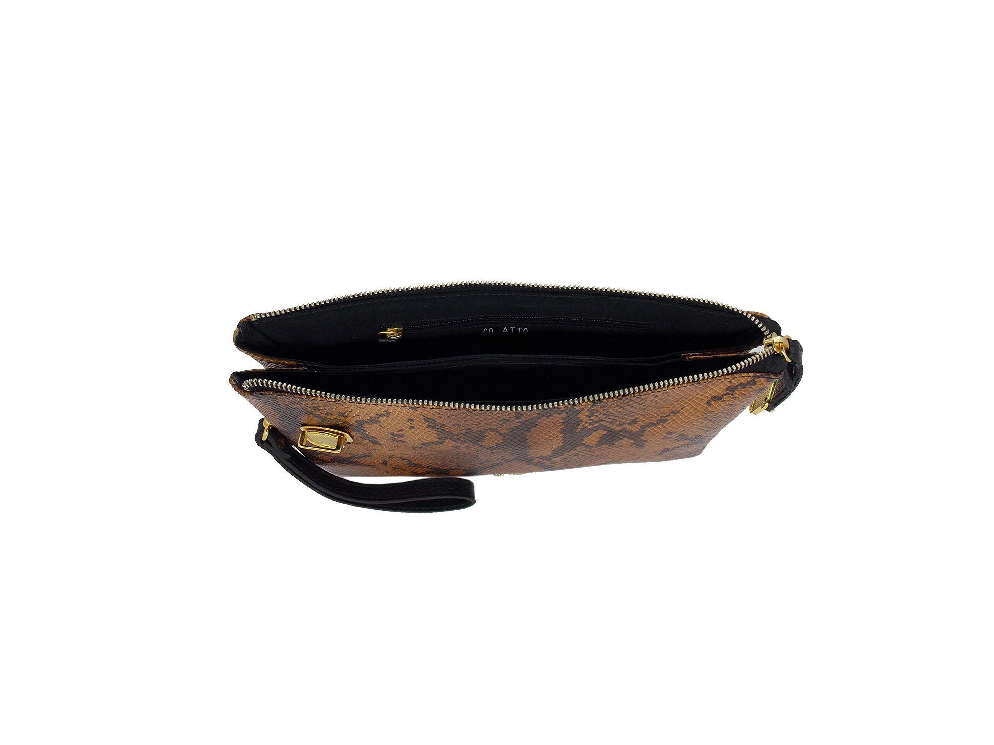 Clutch em Couro Bovina com estampa Anaconda - Colatto