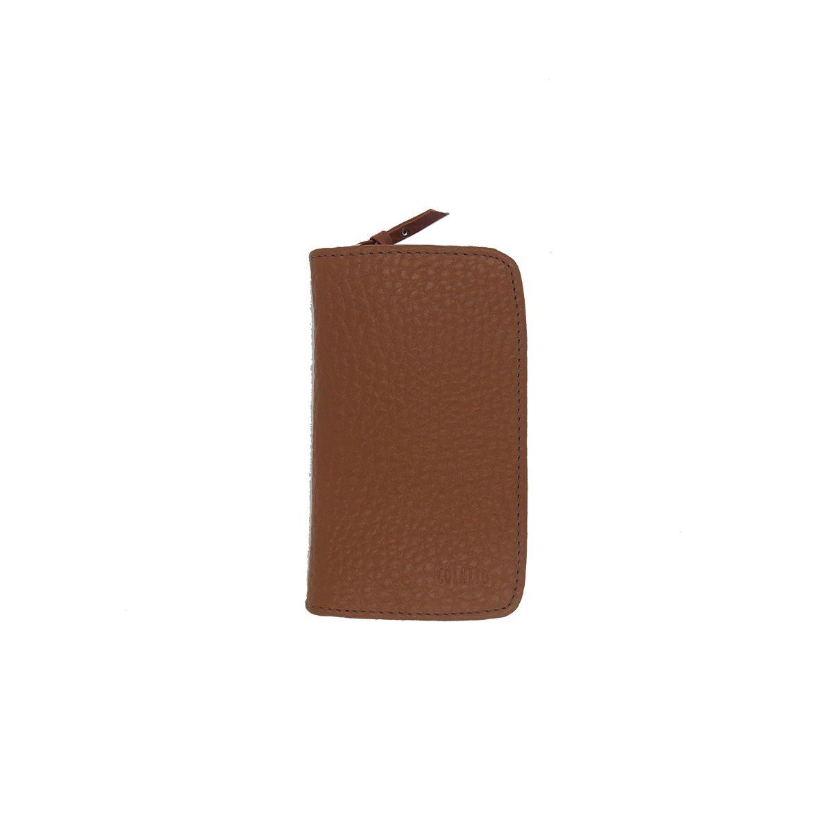 Kit Higiene Bucal em Couro Legitimo cor Caramelo Colatto