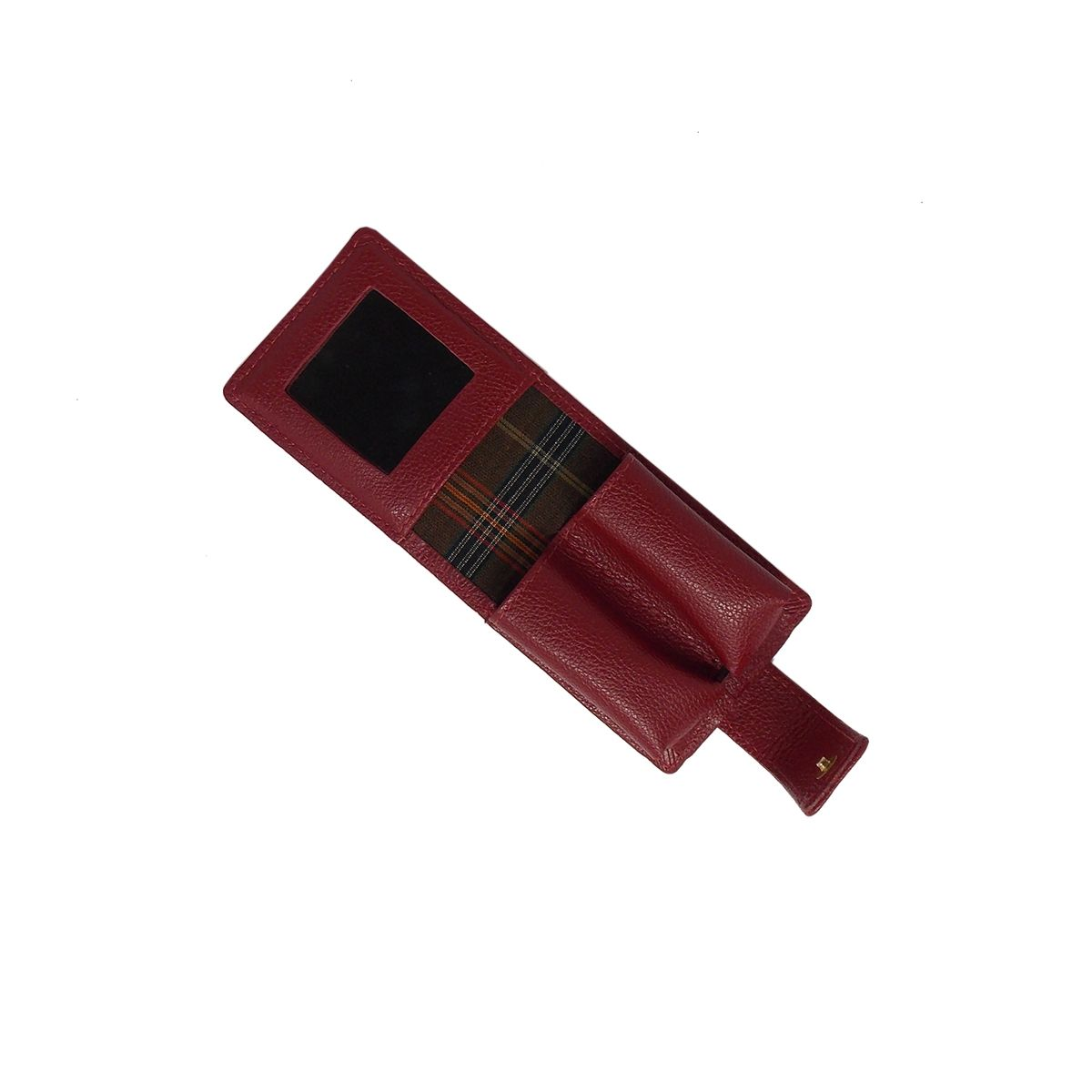 Porta Batom Duplo com Espelho em Couro Legitimo Vermelho - Colatto