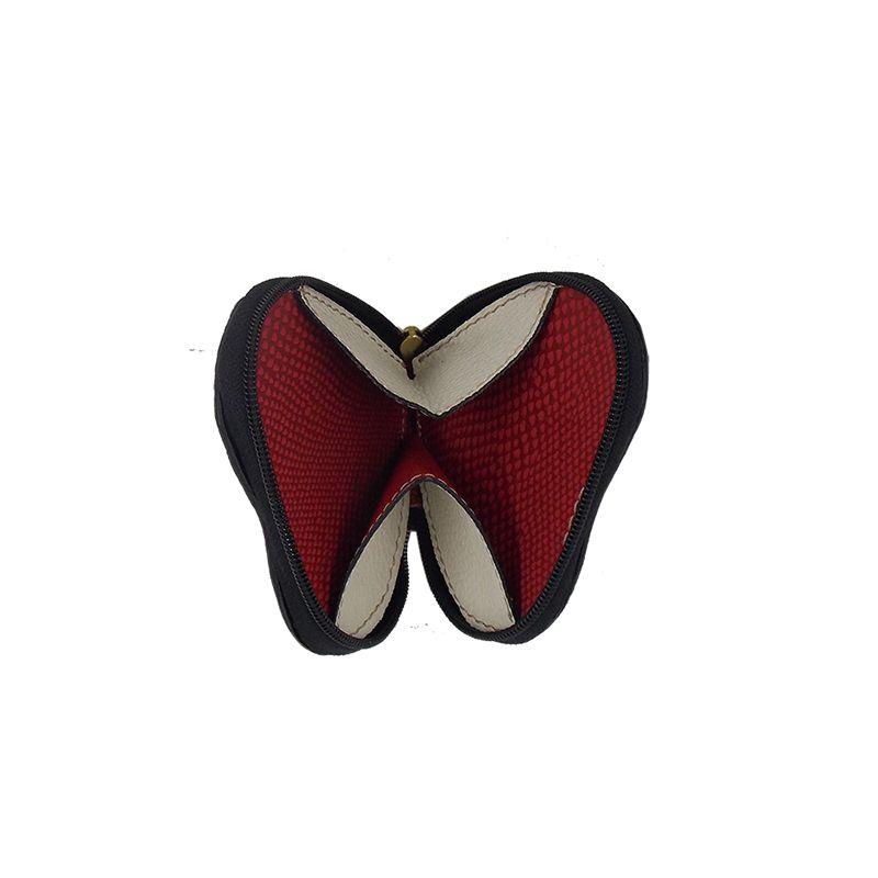 Porta Niquel em formato de Coração feito em Couro Azul - Colatto