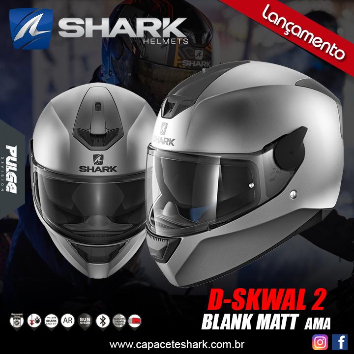 Capacete Shark D-Skwal V2  Blank Matt AMA Cinza