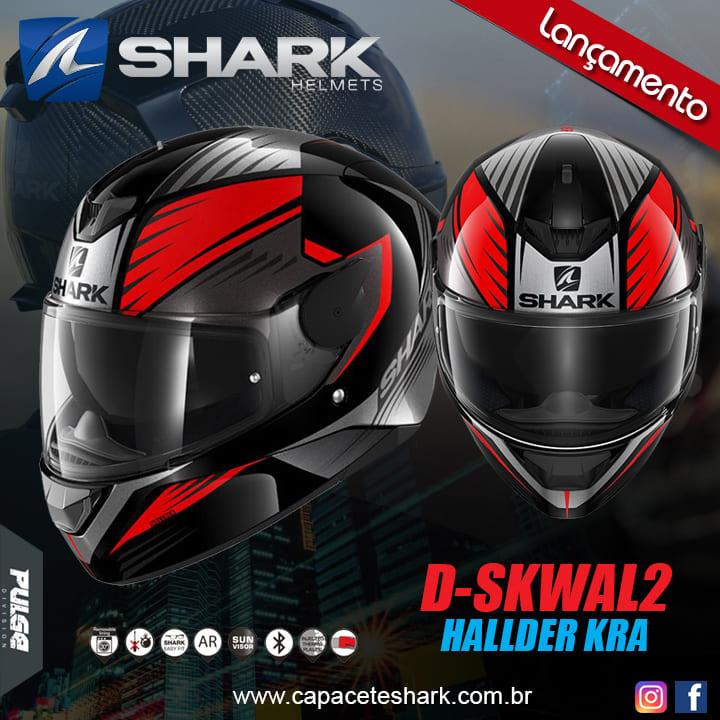Capacete Shark D-Skwal V2 Hallder KRA Preto Vermelho