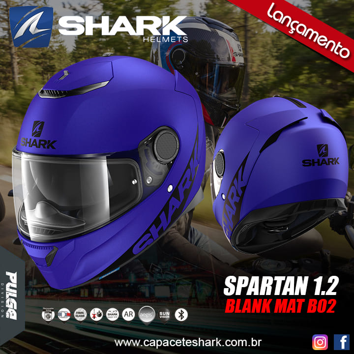 Capacete Shark Spartan Blank Mat Blue B02 Azul Fosco