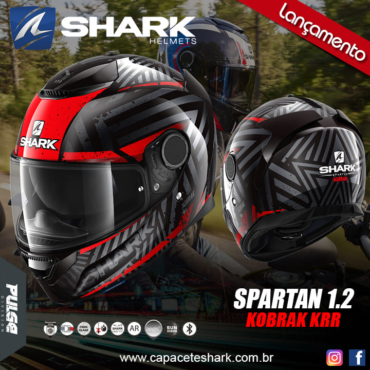 Capacete Shark Spartan Kobrak KRR Preto Vermelho