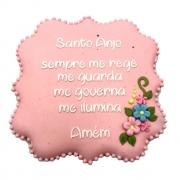 Bolacha de Mel Decorada - Santo Anjo Rosa