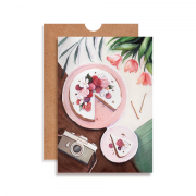 Cartão Bolo com Rosas