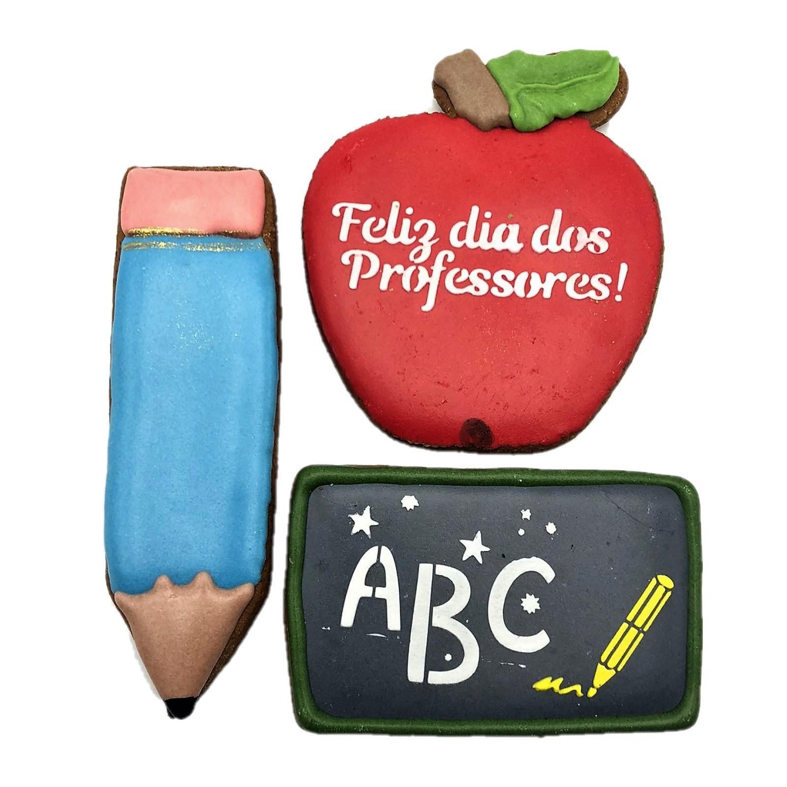 Kit de Bolacha de Mel Confeitada - Dia dos Professores L