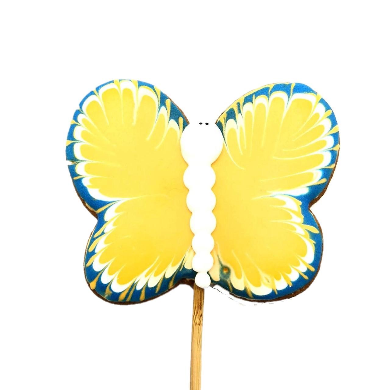 Pirulito Bolacha de Mel - Borboleta Amarela e Azul