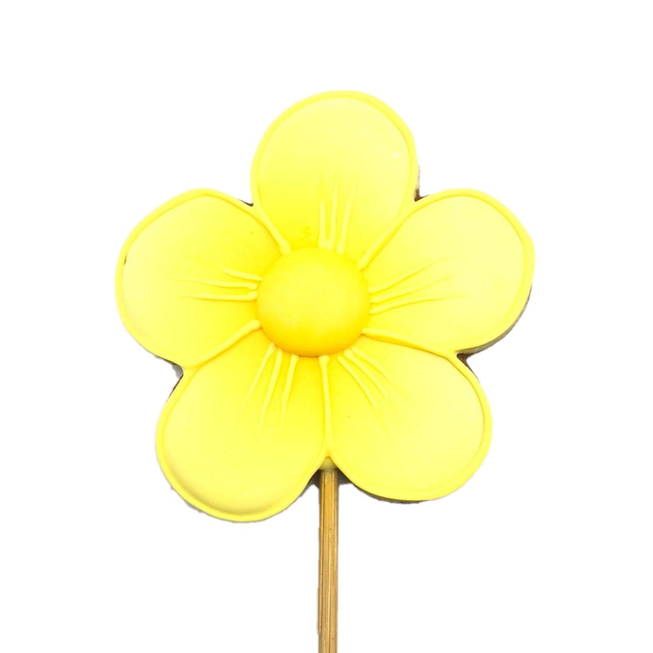 Pirulito Bolacha de Mel - Flor Amarela M