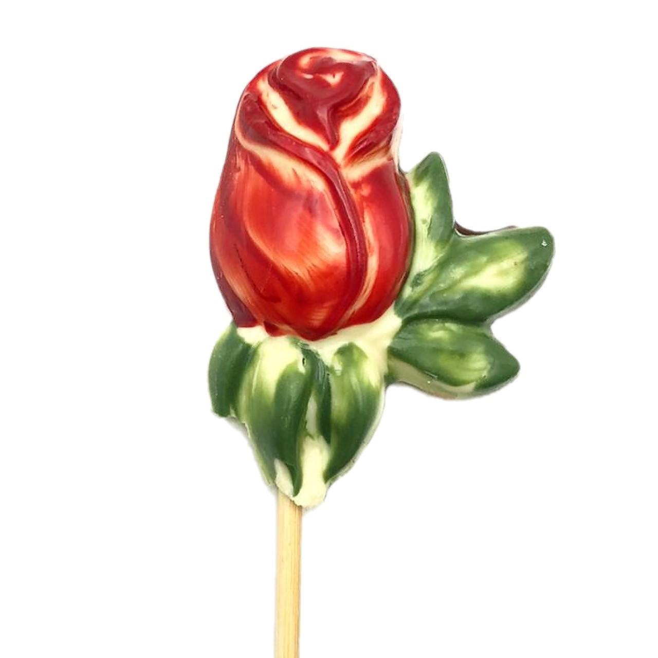 Pirulito de Chocolate ao Leite - Rosa Vermelha
