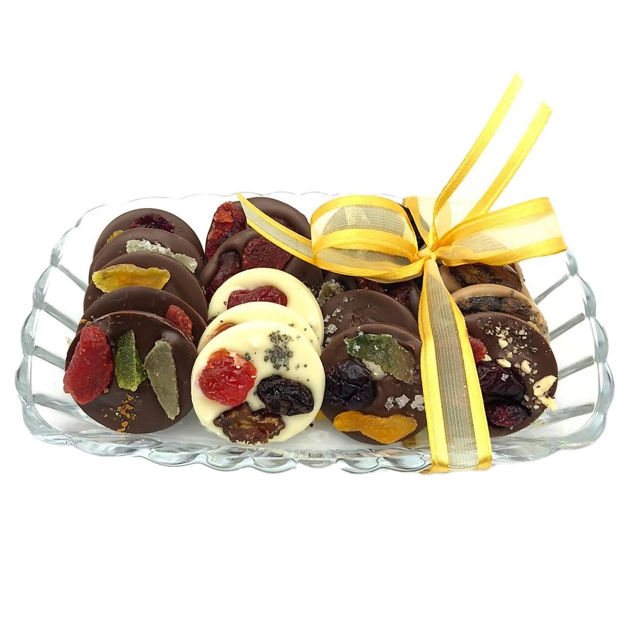 Vidro com Discos de Chocolate e Frutas