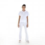 Kit com 2 Conjuntos de Camisa pólo em Tecido Piquet  e 2  Calças Bailarina em Tecido crepe -  cor Branca