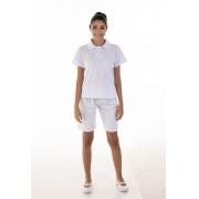 Kit com 2 Conjuntos de Camisa pólo em Tecido Piquet  e 2  Bermudas em Tecido Brim100% algodão Cor Branca
