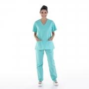 Kit com 2  Pijamas Cirúrgicos Scrub Feminino em Tecido Cedro Hospitalar - 100% Algodão