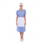 Kit com 2  Vestidos em Tecido Algodão Com Avental  para  Copeira, Arrumadeira, Doméstica