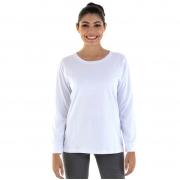 Kit Com 3 Camisetas Femininas Manga Longa 100% algodão - Branca e Preta