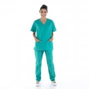 Pijama Cirúrgico Scrub Feminino em Tecido Cedro Hospitalar - 100% Algodão