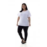 Plus Size - Camiseta Feminina Manga Curta 100% algodão - Branca e Preta