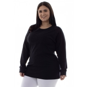 Plus Size - Camiseta Feminina Manga Longa 100% algodão - Branca e Preta