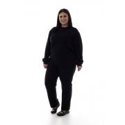 Plus size - Conjunto de Moletom com Blusa Fechada em Tecido Flanelado