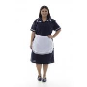 Plus Size - Kit 2 vestidos com avental e bordado ingles em Tecido Oxford para copeira,faxineira, arrumadeira