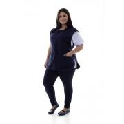 Plus Size - Conjunto de Calça Legging, Camiseta e Bata para Copeira, Arrumadeira, Faxineira, Babá